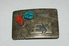 Vintage Men's Turquoise Coral Sterling Silver Belt Buckle Sterling Silver Signed