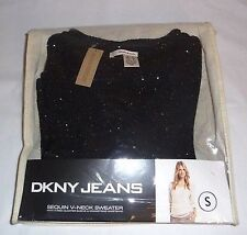 NEW DKNY Womens SEQUIN V-NECK SWEATER 3/4 Sleeve & Drawstring Waistband BLACK 1X