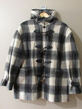 Chaps Ralph Lauren Plaid Wool Blend Toggle Coat L Duffle Hooded Checkered