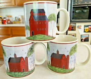 Barns Mugs Warren Kimble 3 Vintage 1998 Cups Made by Sakura