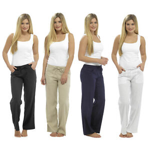 LADIES WOMEN LINEN TROUSERS CASUAL SUMMER HOLIDAY PANT ELASTICATED WAIST BOTTOMS