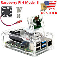 Raspberry Pi 4 Model B Clear Acrylic Case Enclosure Box with Cooling Fan New US