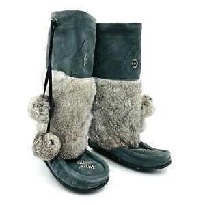 Manitobah Mukluks Gray Rabbit Fur Winter Boots Womens Size 8