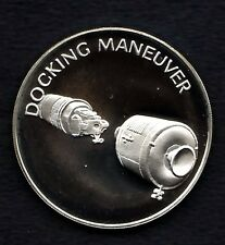APOLLO 13 SPACE FLOWN TO THE MOON MATERIAL LARGE SILVER COIN - Docking Maneuver