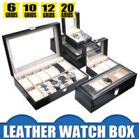 6/12/20/10/24 Grids Leather Watch Case Storage Display Box Jewelery Glass