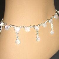 Fußkettchen Mondstein Silber 925 Weiß Blau schimmernd Anklet Silver ts