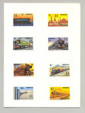 Mongolia #2073a-h Trains, Orient Express 8v Inperf Proofs in Folder
