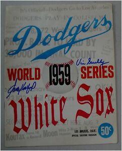 Vin Scully Sandy Koufax Signed Auto Original 1959 World Series Program JSA 08012
