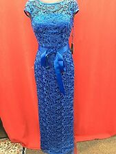 ADRIANNA PAPELL DRESS/NEW WITH TAG/RETAIL$269/LACE DRESS/BLUE/SIZE 8/LINED/