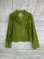 AMI olive green crushed velvet jacket Ladies large pockets button front
