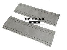 2 x Cintura Spalla Pastiglie copre grigio vera pelle scamosciata nero cuciture