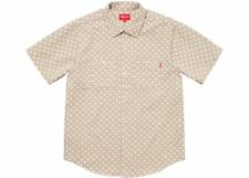 Supreme Polka Dot Denim Shirt Khaki Size Medium SS18 + Bogo Stickers
