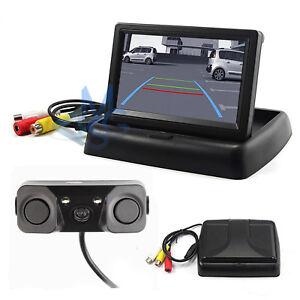 """Kit Retromarcia Monitor 4,3"""" a Scomparsa con Telecamera 2 Sensori Parcheggio"""