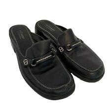 "9M Villager Liz Claiborne Black Leather Lush Style Slip On Slides Mules 1 3/4""h"