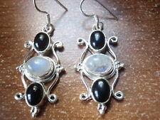 Black Onyx & Moonstone Cabochon Three-Gem 925 Sterling Silver Earrings