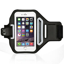 "iPhone 6/6S Plus 5.5"" White Lycra Armband Running Reflective CreditCard Holder"