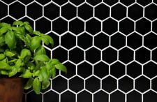 Mosaïque Carreau céramique hexagone noir brillant cuisine 11B-0302_b   1 plaque