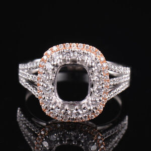 Natural Diamond Semi Mount Bridal Ring Setting Cushion Cut 6×8MM Solid 18K Gold