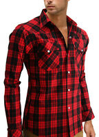 NEW MEN BLACK RED CHECK pearl snap WESTERN lumberjack long sleeve Shirt S M L XL