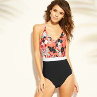 Women's Halter One Piece Swimsuit - Sea Angel Coral Floral - Size XS
