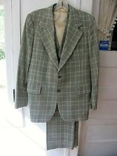 Vintage 1970 3pc Green/Gold Plaid Wool Suit - Pbm - Dry Cleaned