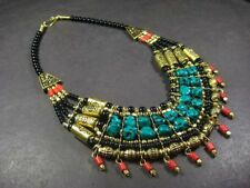 N4066 FASHION Ethnic Tribal Glass Gold tone RESIN strand Women NECKLACE TIBETAN