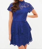 Misguided Lace Double Frill Dress In Cobalt Blue (M73/24)