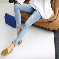 Pregnant Women Stretchy Skinny Jeans Denim Hole Pencil Pants Maternity Trousers