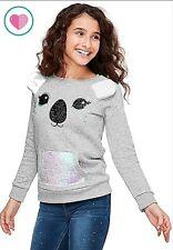 JUSTICE Girls 12 Sequin Sweatshirt Koala Pocket pullover top shirt