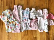 Baby Girls Clothing Lot Of 14 Pieces Size NB Fall/Winter Sleepers Outfits Pink