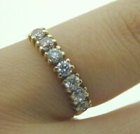 9 carat gold & cubic zirconia seven stone half eternity ring size L 1.2 grams