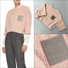 $1545 Brunello Cucinelli Women Monili Bead Oversized Alpaca Pink Jumper Sweater