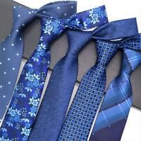 Classic Men's Necktie 8cm Silk Tie Jacquard Woven Blue Navy Neck Tie For Wedding