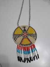 Vintage Native American Style Beaded Medallion Necklace Leather Back Hand Made