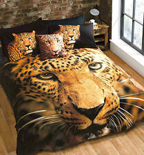 Leopard duvet set photgraphic printed double bed quilt cover set
