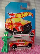 '15 FORD F-150 #185✰Red truck;white Rim✰HW RESCUE✰2017 i Hot Wheels Case H/J