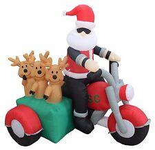 6 Foot Long Christmas Inflatable Santa Claus Reindeer Motorcycle Yard Decoration
