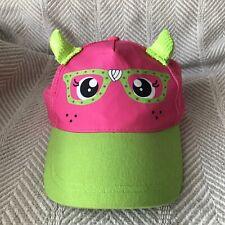 Pink & Green Sequined Horned Ball Cap Animal w/Glasses Adjustable Back Kids Hat