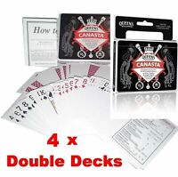 4 x Queen's Slipper Canasta Playing Cards Casino Plastic Coated Double Decks