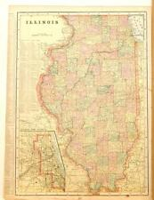 Beautiful Original 1899 Illinois Large Color Map/10x14