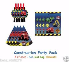 Construction Party Pack, Boy's Birthday Party, 4-Hats, 4-Loot Bags, 4-Blowouts