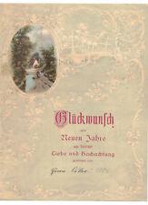 Litho Stampa Schmuckbrief Auguri Nuovo Anno 1906 Rilievo Art Nouveau (D8