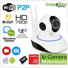 TELECAMERA IP CAMERA HD 720P WIRELESS LED IR LAN MOTORIZZATA WIFI RETE 2 ANTENNE