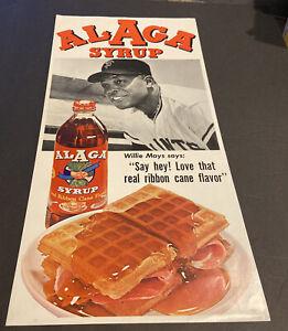 "1960's WILLIE MAYS ""SAYS""~ALGA SYRUP~20""~BASEBALL ""SAY HEY"" ADVERTISING POSTER"