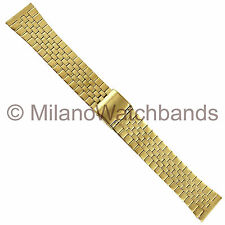 18mm Milano Mens Gold Tone Two Piece Adjustable Metal Link Watch Band