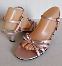 "FIONI Pink Dressy Strappy Shoes Sandals Slingback Open Toe Heel 2⅜"" Women Size 9"