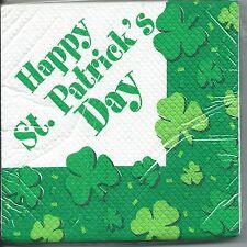 "St Patrick's Day Party Supplies - ""Happy St Patrick's Day""  Beverage Serviettes"