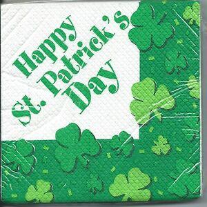 "St Patrick's Day Party Beverage Napkin/Serviette - ""Happy St Patrick's Day"""