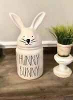 "New Rae Dunn LL Easter ""Hunny Bunny"" large canister with ears 2020"