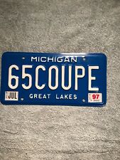 1997 Michigan Vanity License Plate 65 Coupe